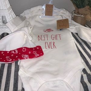 Rae Dunn Baby Onesies Holiday Set of 3 and Hat